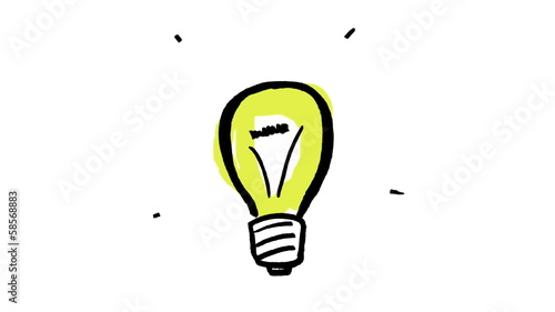 Animation of gestating yellow light bulb