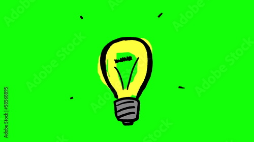 Animation of fast gestating yellow light bulb