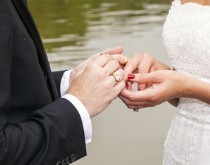 wedding couple are swearing lifetime loyality
