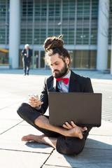 Stylish elegant dreadlocks businessman
