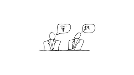 Animation of two businessmen talking about money