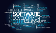 "Постер, картина, фотообои ""Software development apps computer programming word tag cloud"""