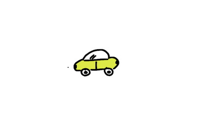 Animation of appearing colourful driving car