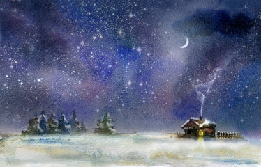 Night rural landscape at winter