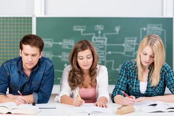 schüler arbeiten konzentriert im unterricht