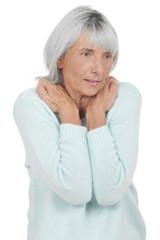 Ältere Frau mit Nackenschmerzen - mature woman pain