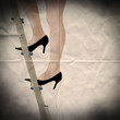lady on stepladder paper backdrop