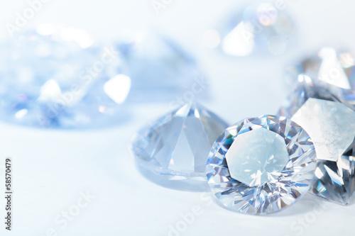 Leinwandbild Motiv White diamonds on blue background
