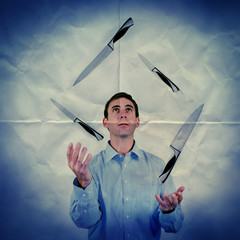 juggle knives paper backdrop