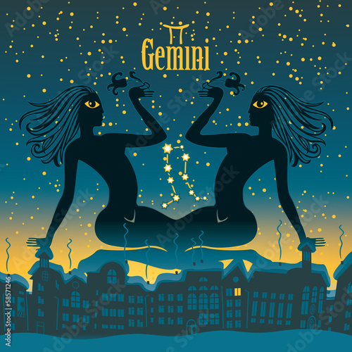 gemini sign in the starry sky night city