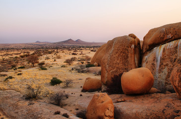 Colorful rocky landscape in Spitzkoppe Namibia