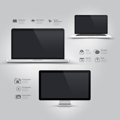 Design UI Elements with icons:Informatic equipment
