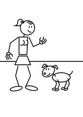 stick figure girl dog