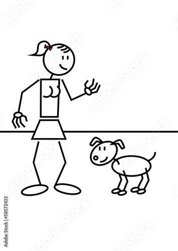 Aufkleber Strichmännchen Hund Frau Katze Hund Pixteria