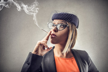 Smoking Retro Woman