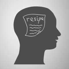 human head silhouette with medicine formulas