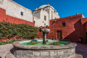 fountain inside Santa Catalina monastery Arequipa Peru