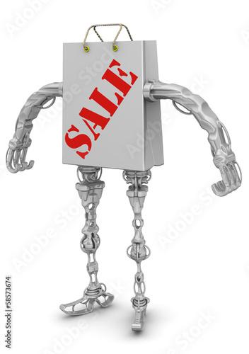 Распродажа. Пакет для покупок в виде робота