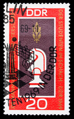 GDR stamp, student chess world chapmionship in 1969