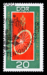 GDR stamp, track cycling world championship in 1969