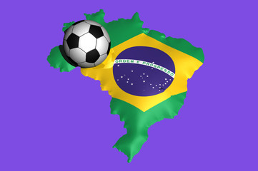 soccer balls on the flag of Brazil for 2014 soccer world cup
