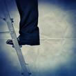 on step ladder paper backdrop