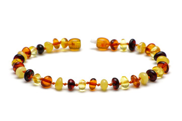 Baltic amber bracelet, multicolor model