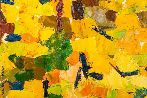 Abstract yellow oil painting on canvas.