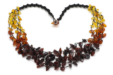 Baltic amber rough necklace, rainbow model
