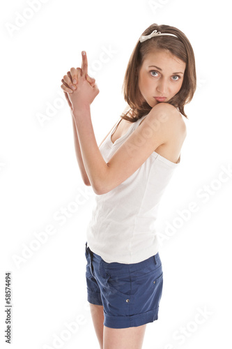 Young woman shooting with fingers
