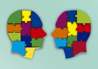 cabezas puzzle enfrentadas