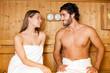 Couple having a sauna