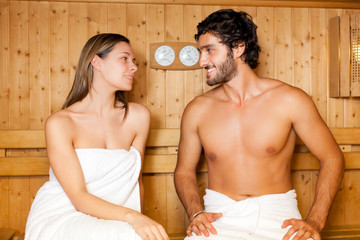 Couple having a sauna