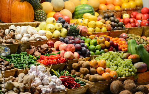Fruit market with various colorful fresh fruits and vegetables - © Aleksandar Mijatovic
