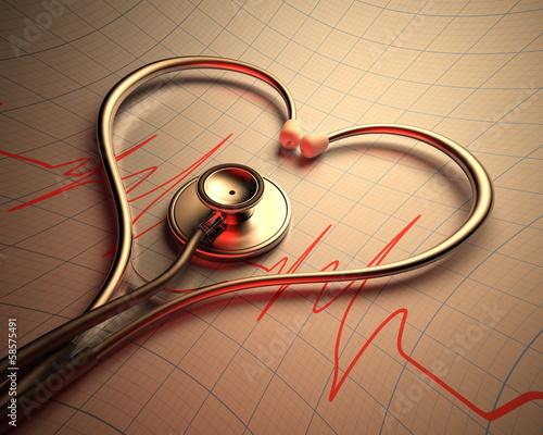 Fototapeta Stethoscope Heart Shape