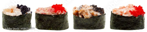 Sushi rolls set on a white background