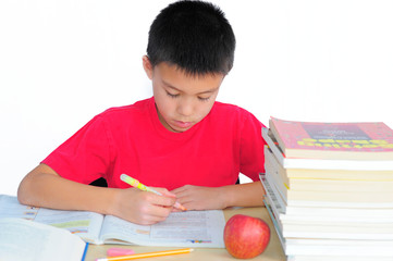 Boy Working on Math Problems