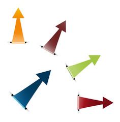The set of glossy folded arrow