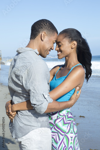 African american couple at the beach