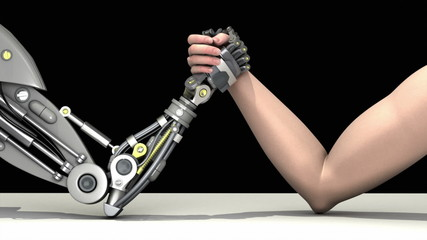 Arm wrestling. Man vs robot. Man wins.