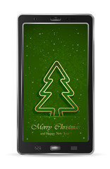 Mobile with green Christmas tree