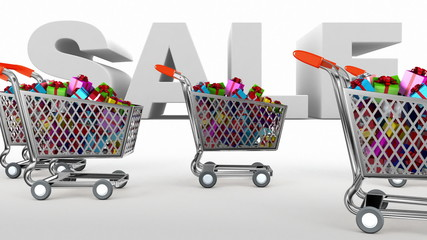 Supermarket trolley. Sale.