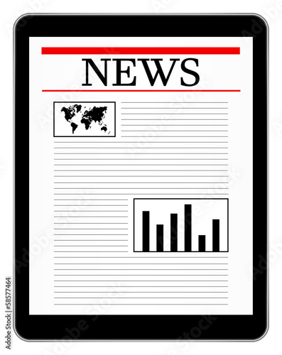 Black Business Tablet Showing World News