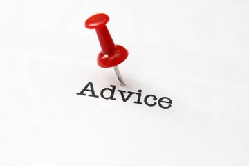 Push pin on advice text