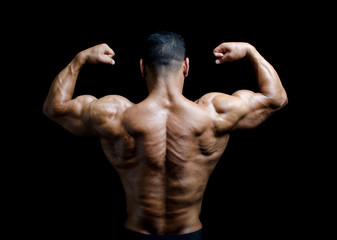 Back, shoulders and arms of muscular bodybuilder