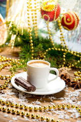 cup of coffee on the holiday table. Christmas collection.