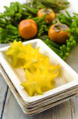 Carambola (starfruit), persimmons and araucaria