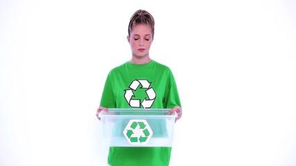 Desperate environmental activist showing a plastic box