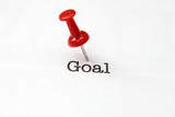 Push pin on goal text