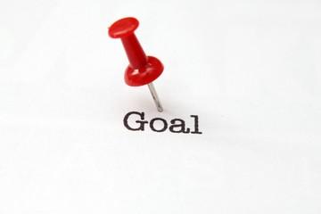 Push pin on goal text
